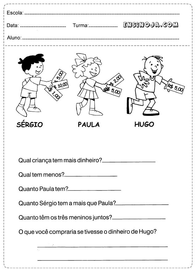 Muitas vezes Atividades sobre dinheiro para Educação Infantil em sala de aula ML81