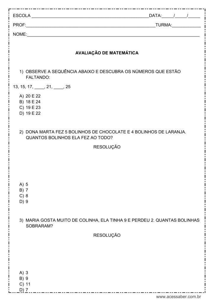 Avaliação de matemática para o 3° ano