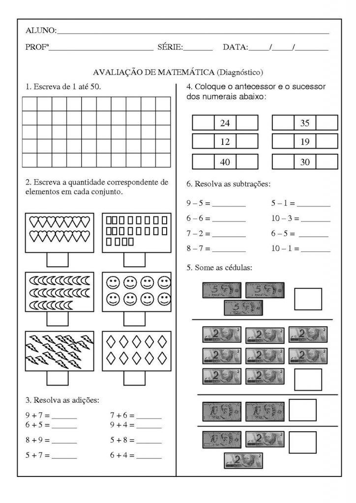 Avaliação de matemática para o 2° ano